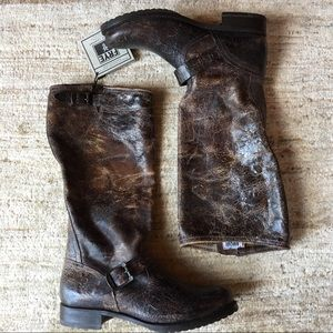FRYE Veronica Slouch Boot Crackle Brown Size 11
